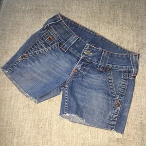 True religion cut off denim shorts, size 26